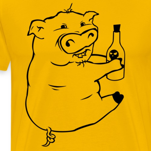 Poison Pig - Black Outline - Men's Premium T-Shirt