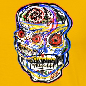 HEWGE ABSTRACT COLORFUL TWO FACED ORIGINAL SKULL - Men's Premium T-Shirt