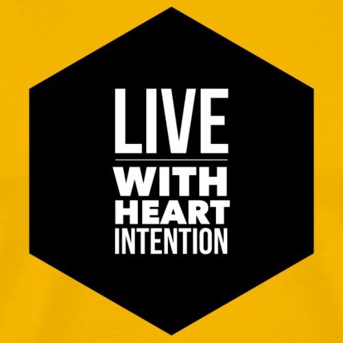Black hexagon live with heart intention - Men's Premium T-Shirt