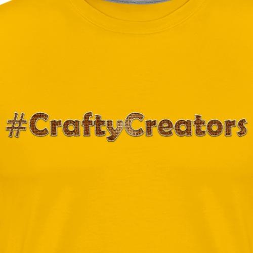 Crafty Creators Cream Stitched Brown Linen Text - Men's Premium T-Shirt