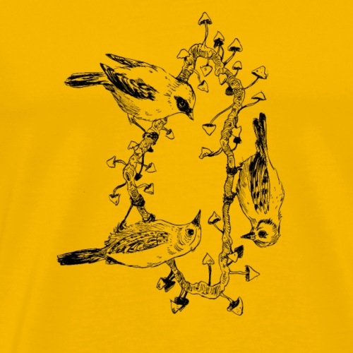 trio / birds / nature / mushrooms - Men's Premium T-Shirt