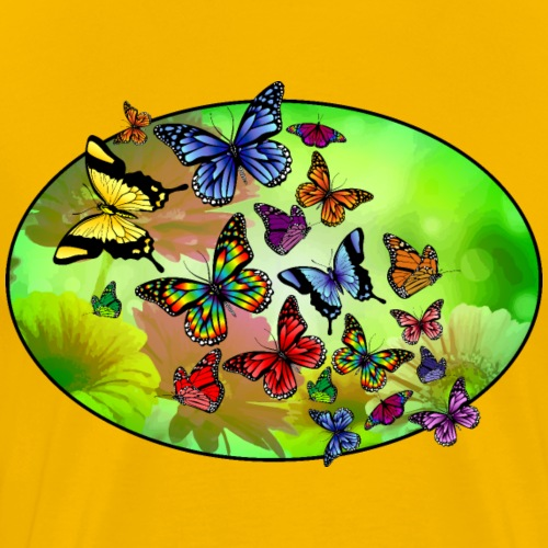 Butterflies In Flowers - Men's Premium T-Shirt