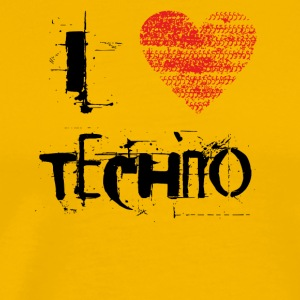 I love techno rave goa hardtek schwarz - Men's Premium T-Shirt