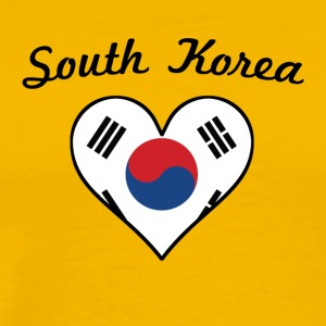 South Korea Flag Heart - Men's Premium T-Shirt