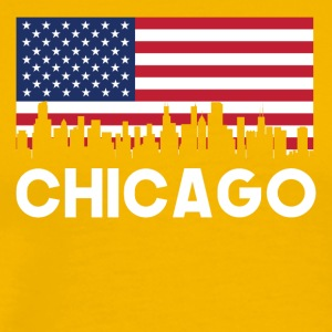 Chicago IL American Flag Skyline - Men's Premium T-Shirt