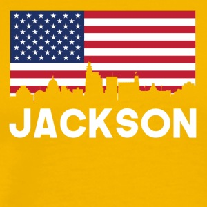 Jackson MS American Flag Skyline - Men's Premium T-Shirt