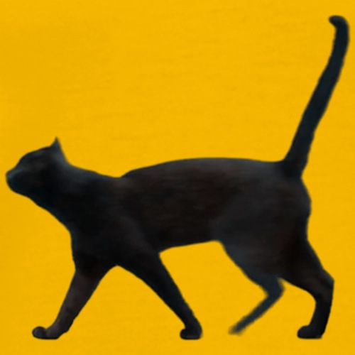 Black cat walking - Men's Premium T-Shirt
