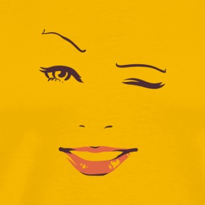 Winking Woman face on t-shirt - Men's Premium T-Shirt