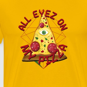 ALL EYEZ ON MY PIZZA Illuminati Italy Fun T-Shirt - Men's Premium T-Shirt