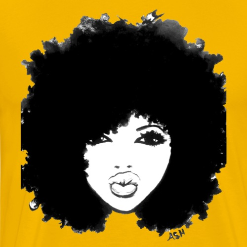 Autumn Attitude Black Curly Afro Natural Hair Tees - Men's Premium T-Shirt