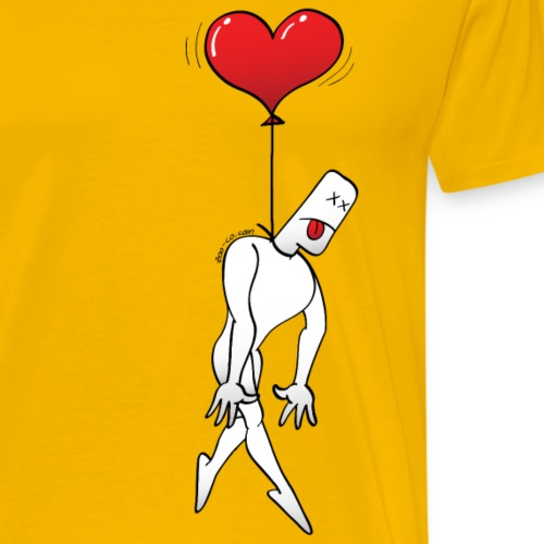 Man Hanged by a Heart Balloon - Men's Premium T-Shirt