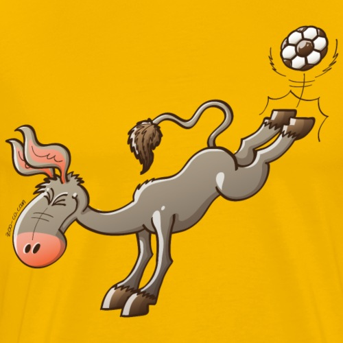 Donkey Shooting a Soccer Ball - Men's Premium T-Shirt