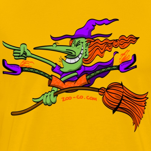 Crazy Witch Riding her Broomstick - Men's Premium T-Shirt
