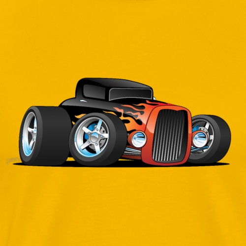 Hot Rod Classic Coupe Custom Car Cartoon - Men's Premium T-Shirt