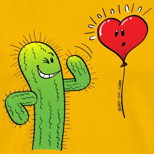 Cactus Flirting with a Heart Balloon - Men's Premium T-Shirt