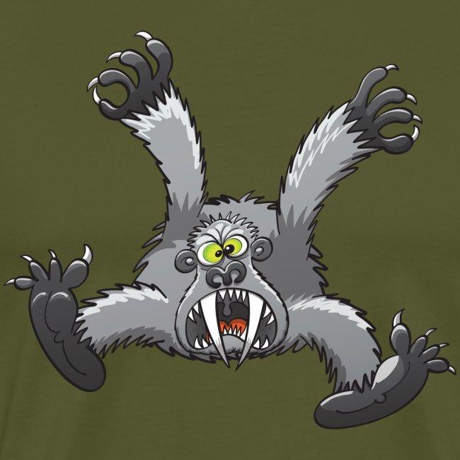 Furious silverback gorilla jumping and attacking
