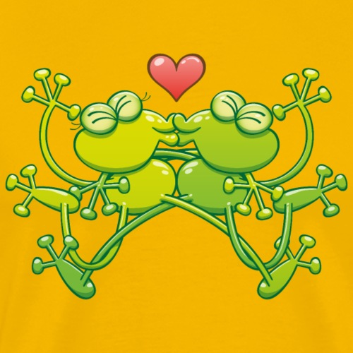 Couple of funny frogs in love kissing passionately - Men's Premium T-Shirt