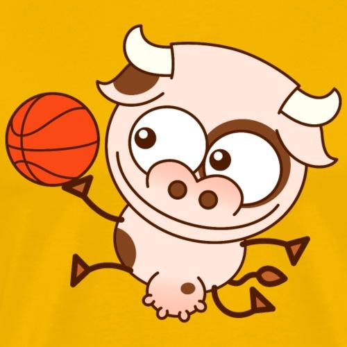 Cute cow playing basketball performs layup shot - Men's Premium T-Shirt