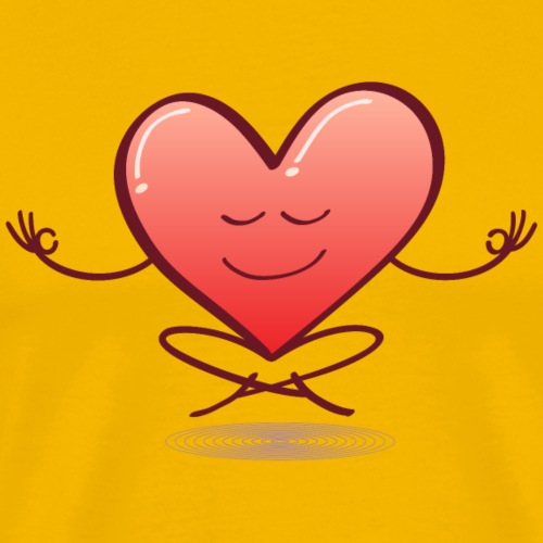 Cartoon heart smiling and meditating in lotus pose - Men's Premium T-Shirt