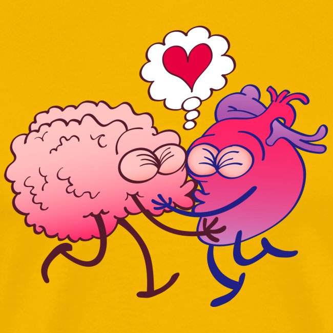 Brain and heart in love kissing passionately