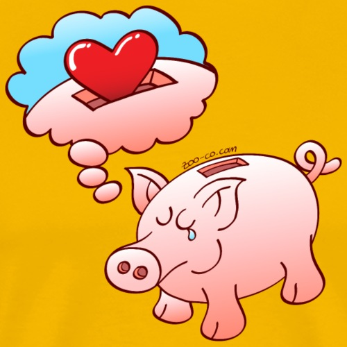 Piggy Bank Dreaming of Hearts instead of Coins - Men's Premium T-Shirt