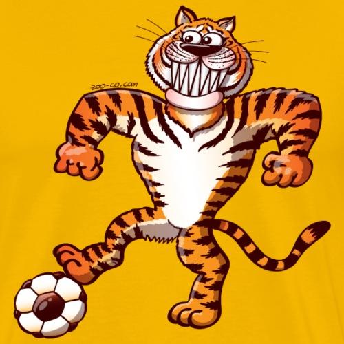 Tiger Stepping on a Soccer Ball Preparing a Kick - Men's Premium T-Shirt