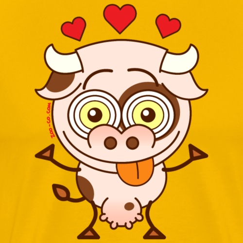 Cute cow falling madly in love - Men's Premium T-Shirt