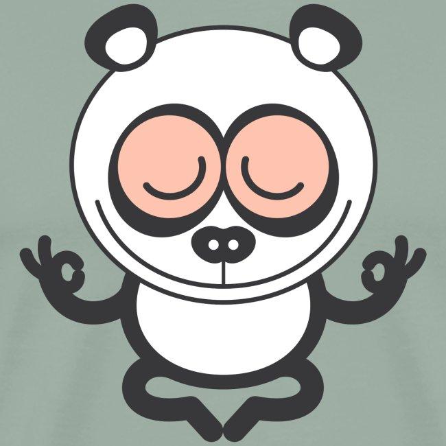 Wise panda bear meditating with great devotion