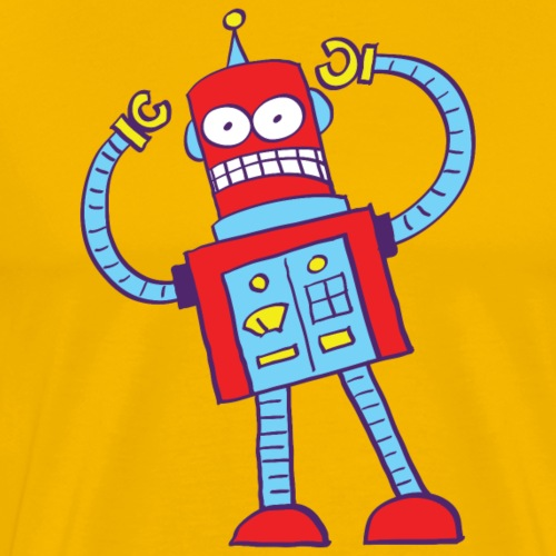 Red robot gnashing his teeth when getting mad - Men's Premium T-Shirt