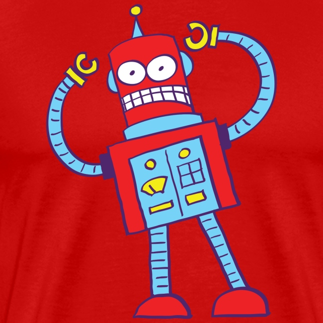 Red robot gnashing his teeth when getting mad