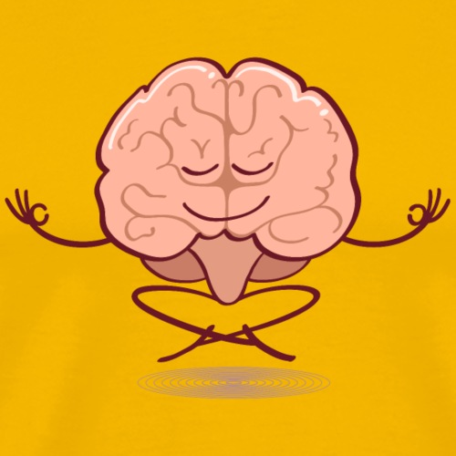 Cartoon brain meditating in lotus pose - Men's Premium T-Shirt