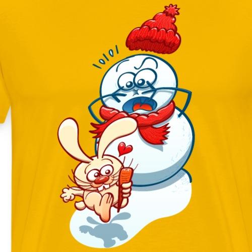 Mischievous bunny stealing the snowman carrot nose - Men's Premium T-Shirt
