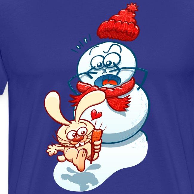Mischievous bunny stealing the snowman carrot nose