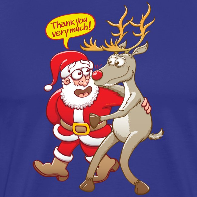 Santa Claus deeply thanks his red-nosed reindeer