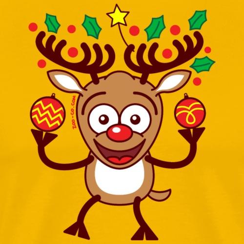 Cool Reindeer Decorating for Christmas - Men's Premium T-Shirt