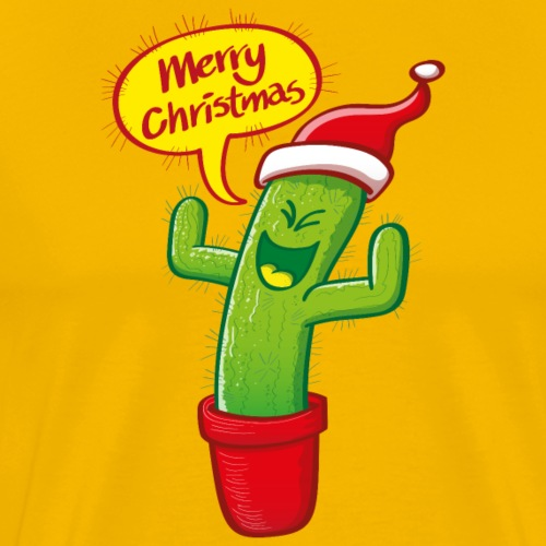 Green cactus with Santa hat celebrating Christmas - Men's Premium T-Shirt