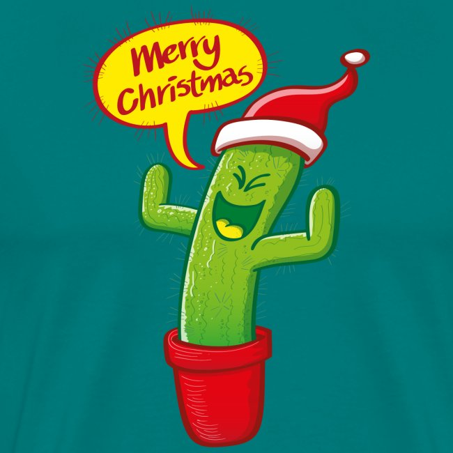 Green cactus with Santa hat celebrating Christmas