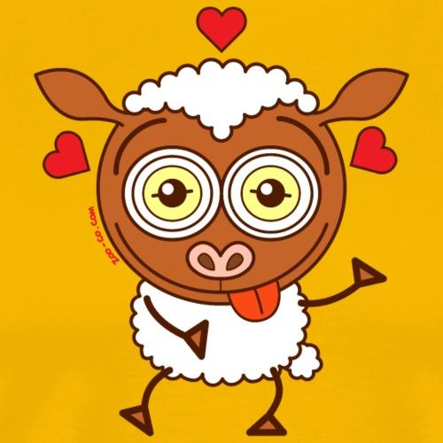 Crazy sheep feeling lucky in love - Men's Premium T-Shirt