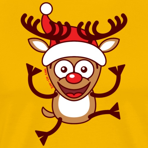 Cool Xmas Reindeer Wearing Santa Hat - Men's Premium T-Shirt