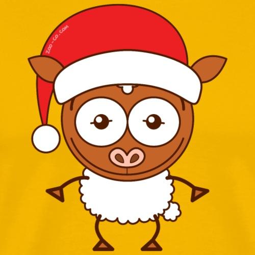 Christmas sheep wearing Santa hat - Men's Premium T-Shirt