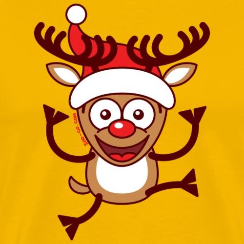 Cool Xmas Reindeer Wearing Santa Hat - Men's Premium T-Shirt