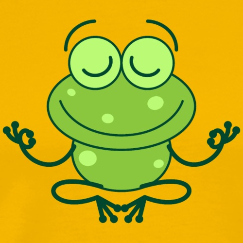 Green frog deeply submerged in joyful meditation - Men's Premium T-Shirt