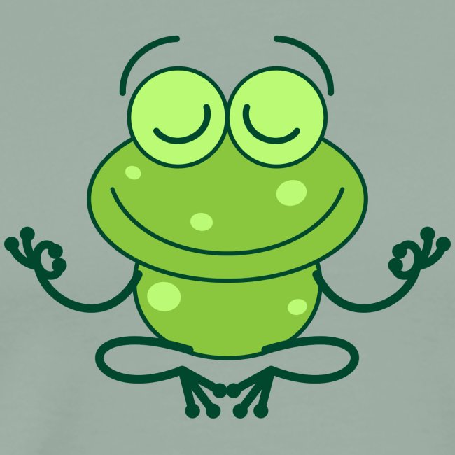 Green frog deeply submerged in joyful meditation