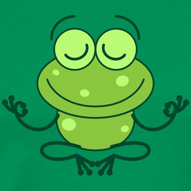 Green frog deeply submerged in joyful meditation