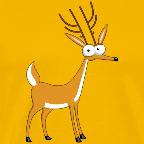 Funny cartoon deer animal wildlife vector image - Men's Premium T-Shirt