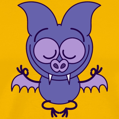 Purple bat meditating in joyful mood - Men's Premium T-Shirt