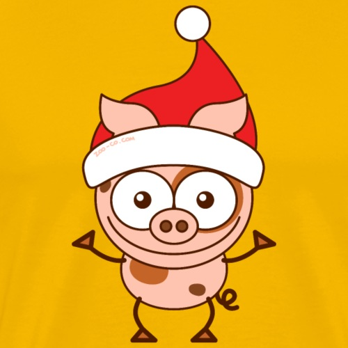 Christmas pig wearing Santa hat - Men's Premium T-Shirt