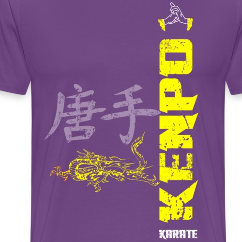 vertical kenpo with chinese kanji dragon yellow - Men's Premium T-Shirt