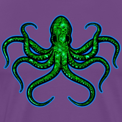 Angry Green Ringed Octopus - Men's Premium T-Shirt