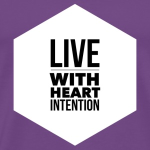 hexagon live with heart intention- white - Men's Premium T-Shirt
